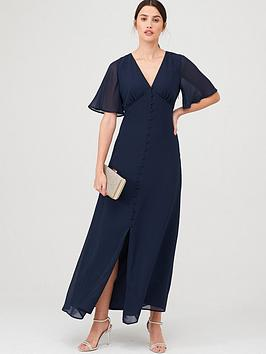 warehouse-angel-sleeve-button-front-maxi-dress-navy