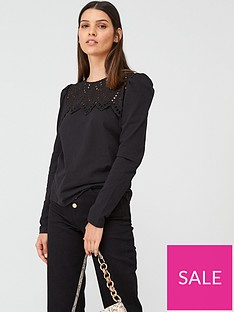 warehouse-embroidered-victoriana-long-sleeve-top-black