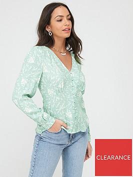 warehouse-sprig-floral-button-through-top-green