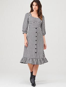 warehouse-gingham-square-neck-peplum-dress-mono