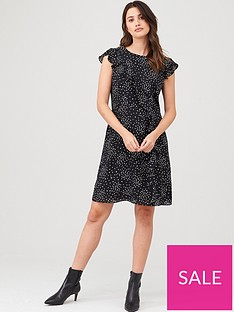 wallis-speckled-spot-frill-fit-amp-flare-dress-mono