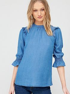 oasis-ruffle-sleeve-three-quarter-sleeved-top