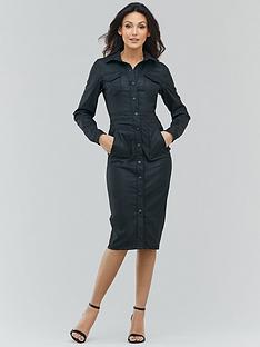 michelle-keegan-coated-leather-look-denim-midi-dress-black