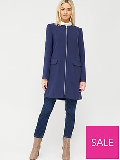 oasis-collarless-zip-front-coat-navy