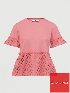 v-by-very-broderie-mix-tee-pink