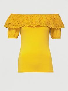 v-by-very-broderie-trim-bardot-top-mustard