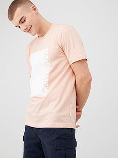 calvin-klein-jeans-logo-cut-out-print-t-shirt-peach