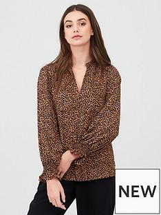 oasis-animal-shirred-cuff-shirt-brown