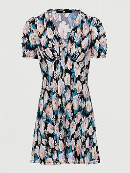 v-by-very-plisse-mini-button-through-dress-black-floral