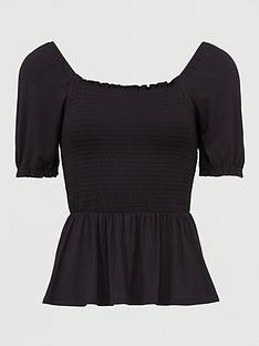 v-by-very-shirred-milkmaid-short-sleeve-top-black