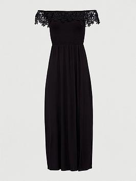 v-by-very-broderie-trim-bardot-maxi-dress-black