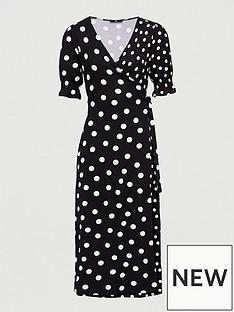 v-by-very-printed-wrap-midi-dress-polka-dot