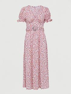 v-by-very-belted-midi-dress-pink-print