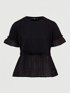 v-by-very-broderie-mix-tee-black