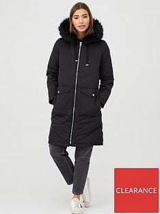 warehouse-long-chevron-padded-coat-black
