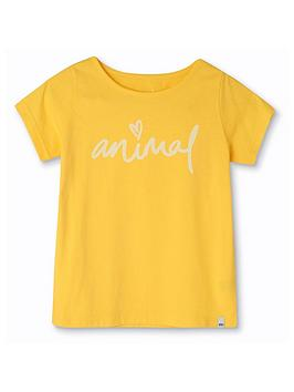 animal-girls-script-short-sleeve-graphic-t-shirt-yellow