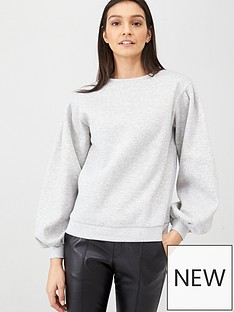 v-by-very-volume-sleeve-sweat-top-grey