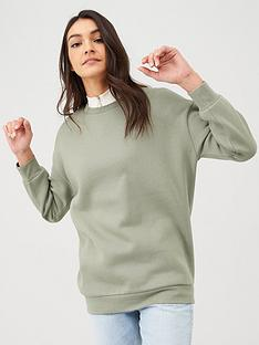 v-by-very-long-line-crew-neck-sweat-khaki