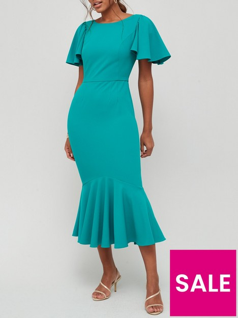 v-by-very-round-neck-angel-sleeve-midi-dress-green
