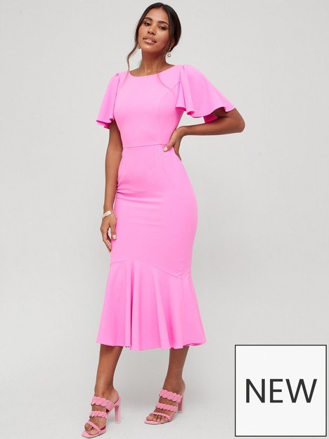v-by-very-round-neck-angel-sleeve-midi-dress-pink