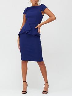v-by-very-peplum-waist-structured-mini-dress-navy