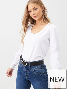 v-by-very-volume-sleeve-scoop-neck-top-white