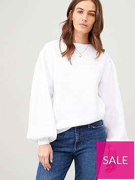 v-by-very-volume-sleeve-sweat-top-white