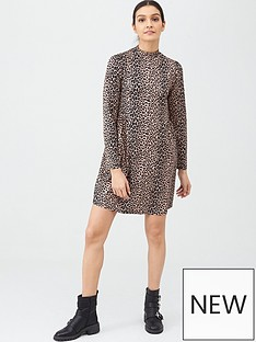 v-by-very-turtleneck-shift-mini-dress-animal-print