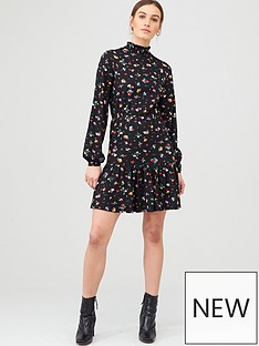 v-by-very-high-neck-blouson-mini-dress-floral-print