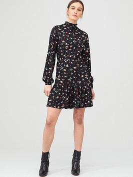 v-by-very-high-neck-blouson-mini-dress-floral-print
