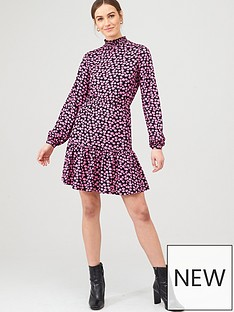 v-by-very-high-neck-blouson-mini-dress