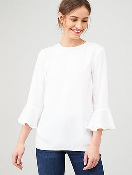 v-by-very-fluted-sleeve-shell-top-ivory