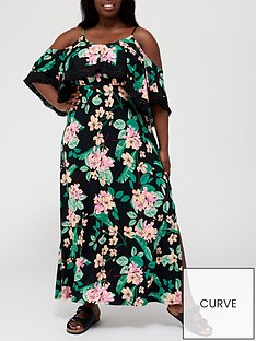 v-by-very-curve-cold-shoulder-jersey-maxi-dress-with-tassel-detail-tropical-printnbsp