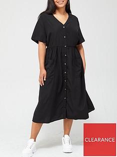 v-by-very-curve-button-through-printed-shirt-dress-black