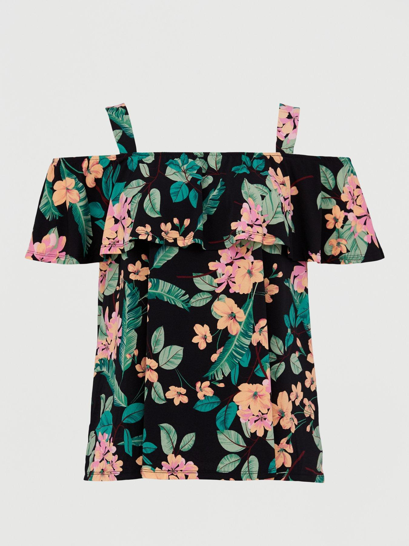 Womens Plus Size V Neck Top T Shirt Ladies Party Office Leaf Print Blouse Tee