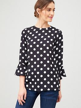 v-by-very-fluted-sleeve-shell-top-spot