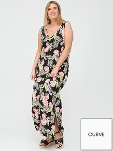 v-by-very-curve-side-split-jersey-maxi-dress-black