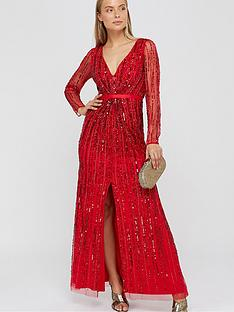 monsoon-jessa-linear-long-sleeve-maxi-dress-red