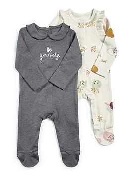 mamas-papas-baby-girls-be-yourself-2-pack-sleepsuit-grey