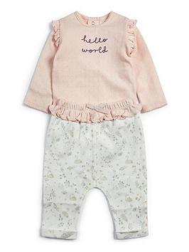 mamas-papas-baby-girls-hello-world-2-piece-jog-set-pink