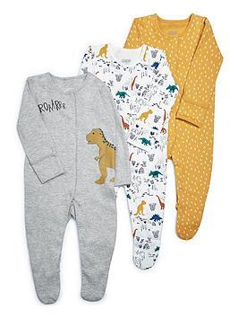 mamas-papas-baby-boys-dino-3-pack-sleepsuit-multi