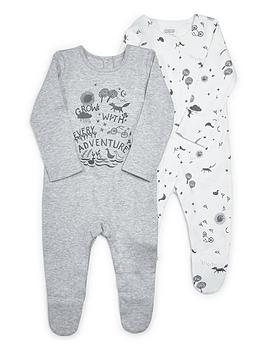 mamas-papas-unisex-2-pack-adventure-sleepsuit-grey