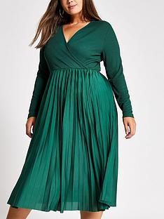 ri-plus-ri-plus-wrap-pleated-midi-dress-dark-green
