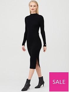 river-island-river-island-shoulder-button-detail-midi-jumper-dress-black