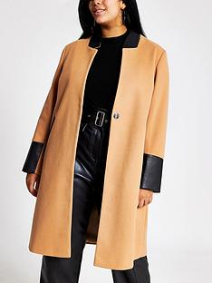ri-plus-ri-plus-pu-trim-collarless-smart-coat-camel