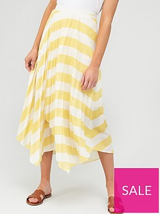 hugo-casual-striped-plisse-jersey-skirt-yellow