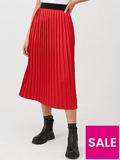 hugo-pleated-skirt-rednbsp