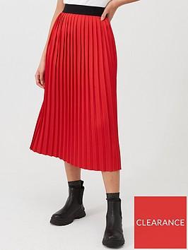 hugo-pleated-skirt-rednbsp