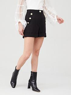 river-island-river-island-crested-button-high-rise-shorts-black