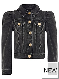river-island-girls-puff-sleeve-denim-jacket--black